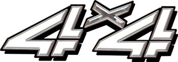 4x4 Decal White Classic