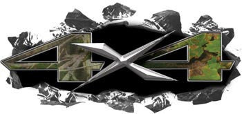 Torn Ripped Metal 4x4 Decals Real Camo