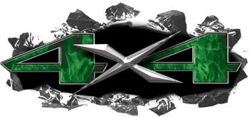 Torn Ripped Metal 4x4 Decals Inferno Green