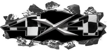 Torn Ripped Metal 4x4 Decals Racing Flag