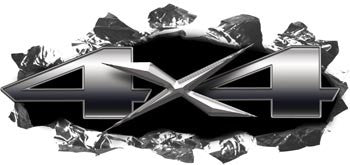 Torn Ripped Metal 4x4 Decals Silver
