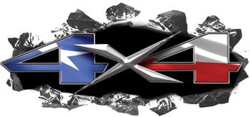 Torn Ripped Metal 4x4 Decals Texas Flag