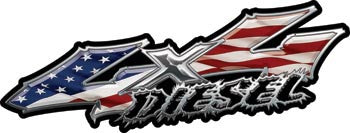 Wicked Series 4x4 Diesel American Flag Decals