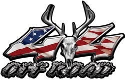 Deer Skull Wicked Series 4x4 Off Road American Flag Decals