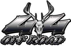 Deer Skull Wicked Series 4x4 Off Road Silver Decals