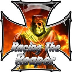 Maltese Cross Decal Racing the Reaper