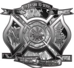 """The Desire to Serve"" Firefighter Decal - Inferno Black and White"
