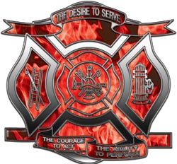 """The Desire to Serve"" Firefighter Decal - Inferno Red"