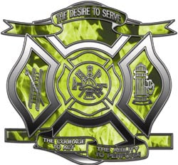 """The Desire to Serve"" Firefighter Decal - Inferno Yellow"