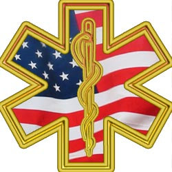 Gold with American Flag Firefighter Star of Life