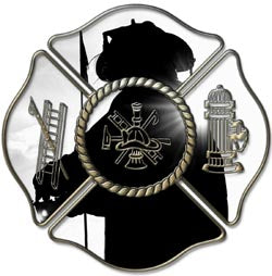 Maltese Cross Decal with Fire Fighter Shadow
