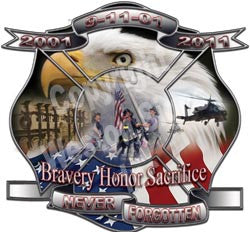 Bravery Honor Sacrifice Never Forgotten 9-11-01 2001 to 2011 anniversary memorial reflective firefighter deca