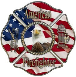 American Firefighter Flag Maltese Cross Decal with Eagle