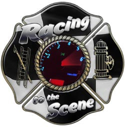 "Maltese Cross Decal with ""Racing to the Scene"""