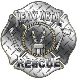 """Heavy Metal Rescue"" Firefighter Decal - Diamond Plate"