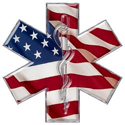 Star Of Life - Medical - American Flag