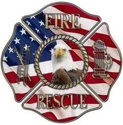 Fire/Rescue Maltese Cross Decal With American Flag and Eagle