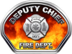 Deputy Chief Firefighter Helmet Face Decal (REFLECTIVE) Real Fire
