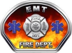 EMT Firefighter Helmet Face Decal (REFLECTIVE) Real Fire