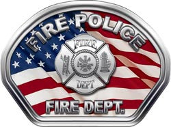 Fire Police Helmet Face Decal (REFLECTIVE) American Flag