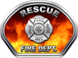 Rescue Firefighter Helmet Face Decal (REFLECTIVE) Real Fire
