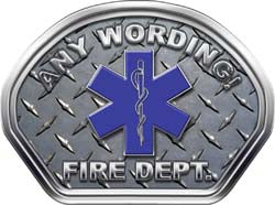 Custom Helmet Face Decal in Diamond Plate with Star of Life