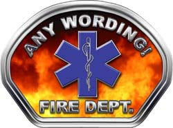 Custom Helmet Face Decal in Fire with Star of Life