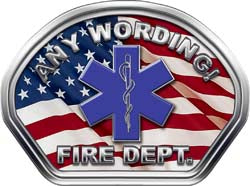 Custom Helmet Face Decal in American Flag with Star of Life