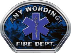 Custom Helmet Face Decal in Inferno Blue with Star of Life