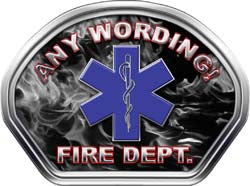 Custom Helmet Face Decal in Inferno Black and White with Star of Life