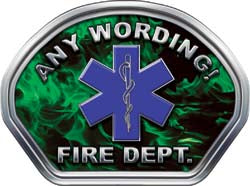 Custom Helmet Face Decal in Inferno Green with Star of Life