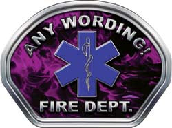 Custom Helmet Face Decal in Inferno Purple with Star of Life