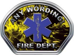 Custom Helmet Face Decal in Inferno Yellow with Star of Life