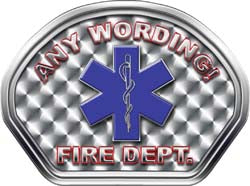 Custom Helmet Face Decal in Silver with Star of Life