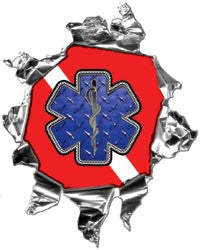 Mini Ripped Torn Metal Decal with Dive Flag With Blue Star of Life EMS Graphic