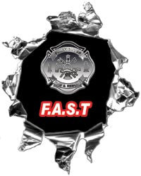 Mini Ripped Torn Metal Decal Firefighter Assist and Search Team F.A.S.T