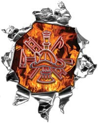 Mini Ripped Torn Metal Decal Inferno Flames Firefighter Scramble