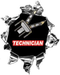 Mini Ripped Torn Metal Decal Rescue Technician Graphic