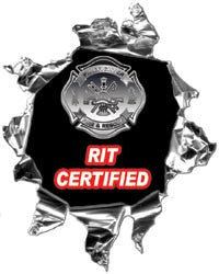 Mini Ripped Torn Metal Decal RIT Certified Rapid Intervention Team