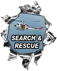 Mini Ripped Torn Metal Decal Firefighter Search and Rescue Helicopter Graphic