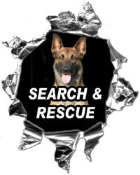 Mini Ripped Torn Metal Decal Firefighter Search and Rescue K9 Dog Graphic