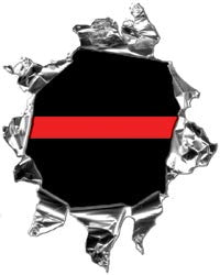 Mini Ripped Torn Metal Decal Thin Red Line Graphic