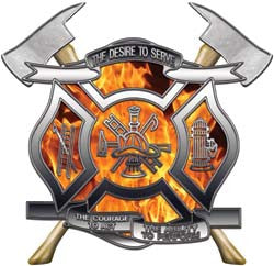 Desire To Serve Firefighter Decals with Axes Inferno