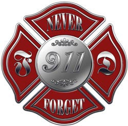 "911 Memorial Maltese Cross Decal ""Never Forget"""