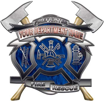 Personalized Department Maltese Cross with Axe in Inferno Blue with MC