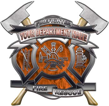 Personalized Department Maltese Cross with Axe in Inferno Orange with MC