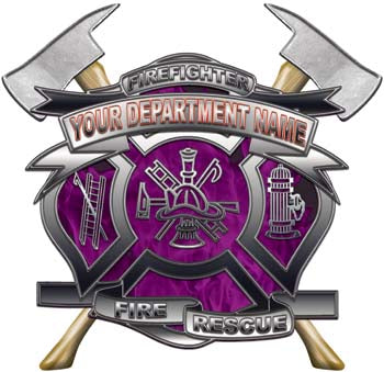 Personalized Department Maltese Cross with Axe in Inferno Purple with MC