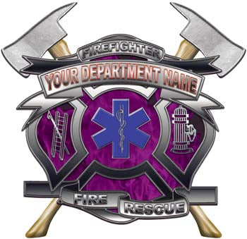 Personalized Department Maltese Cross with Axe in Inferno Purple with Star Of Life