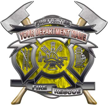 Personalized Department Maltese Cross with Axe in Inferno Yellow with MC