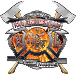 Personalized Department Maltese Cross with Axe in Inferno